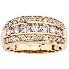14k Yellow Gold 1ct TDW Diamond Band (I-J, I1-I2) by Ever One (Size 8.5), Women's