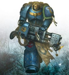 Ultramarine vet with heavy flamer Warhammer 40k Art, Warhammer Models, Warhammer Fantasy, Ultramarines, Deathwatch, Game Workshop, Starcraft, Geek Art, Space Marine