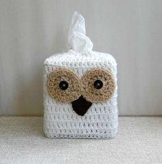 Chouette tissu Box couverture, Crochet, oiseau bois, support décoratif Kleenex, confortable, rustique Home Decor