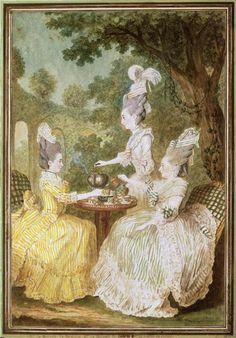 Carmontelle: La marquise de Montesson, la marquise du Crest et la comtesse de Damas, Musée Condé, Chantilly.