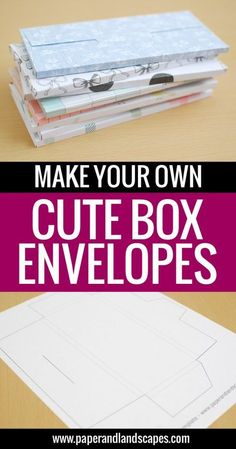 Make Your Own Cute Box Envelopes – Free Printable Template… – Origami Money Envelopes, Paper Envelopes, How To Make Envelopes, Making Envelopes, Cute Envelopes, Handmade Envelopes, Handmade Cards, Handmade Bookmarks, How To Make An Envelope