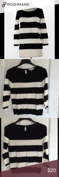 Ann Taylor LOFT striped sweater. Size small. Black and white striped sweater from Ann Taylor LOFT. Size small. All photos are of actual item. Excellent condition! Measurements upon request. From smoke-free home. (Added 8/6/17-BOX9). LOFT Sweaters Crew & Scoop Necks