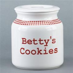 Mom's Personalized Lidded Ceramic Jar for Cookies in Red Gingham Design