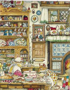 In 'Spring Story' Mr. Apple takes advantage of an idyllic spring day to plan a surprise birthday party for a cranky little mouse who fears he's been forgotten. (From Brambly Hedge by Jill Barklem who was a British writer and illustrator) Art And Illustration, Illustration Mignonne, Book Illustrations, Beatrix Potter, Brambly Hedge, Hedges, Pretty Pictures, Illustrators, Fantasy Art