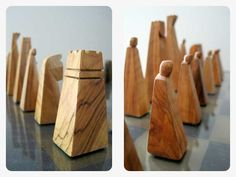 Vintage hand-carved olive wood chess set--A. Wooden Decor, Wooden Crafts, Wooden Toys, Chess Board Table, Chess Boards, Chess Strategies, Chess Pieces, Design Lab, Wood Carving