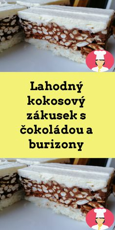 Lahodný kokosový zákusek s cokoládou a burizony Cereal, Breakfast, Food, Morning Coffee, Meals, Corn Flakes, Morning Breakfast, Breakfast Cereal