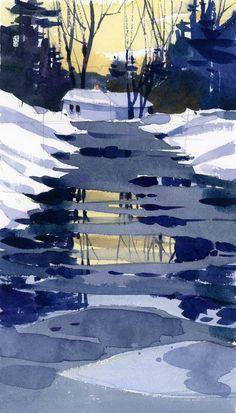 Shari Blaukopf Naples in Winter watercolor Watercolor Landscape Paintings, Abstract Landscape, Chinese Landscape, Watercolor Artists, Abstract Paintings, Oil Paintings, Guache, Winter Art, Watercolor Techniques