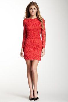 Madison Marcus Long Sleeve Lace Dress