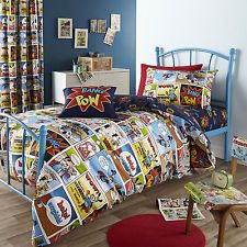 Single Bed Kids Childrens Teenager Duvet/Quilt Cover And Pillowcase, Comic  Strip Quilt Bedding