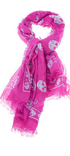 Alexander McQueen in hot pink with skulls. I think so! Pink Love, Pretty In Pink, Rosa Pink, Pink Skull, Skull Scarf, Shabby Chic Pink, Pink Bling, Skull Print, Everything Pink