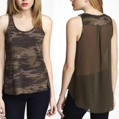 Express Camouflage Tank Camo design with gold stud accents around neckline. Sheer back. High low hem line. Great condition! Express Tops Tank Tops