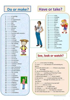 Do or make - Have or take - See, look or watch worksheet - Free ESL printable worksheets made by teachers English Grammar Rules, Teaching English Grammar, English Grammar Worksheets, English Writing Skills, English Reading, English Fun, English Class, English Lessons, English Vocabulary