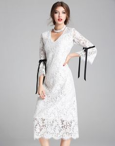 #VIPme 💋White V Neck Elegant Lace Plain Midi Dress. Get more fashion inspiration at VIPme.com.