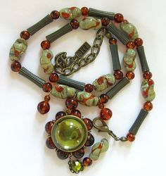 Vintage Kien Necklace Peridot Amber Glass Beads 1980s Bohemian Canada Jewelry by BuyVintageJewelry, $35.18