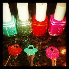 pinterest project!....nail polish on your keys.