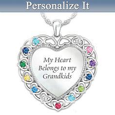 My Heart, My Grandkids Personalized Pendant Necklace  Emily, Dylan, Jacob, Kiersten, Mia, Brooklyn, Garrett, Sophia