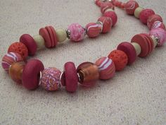 """Great """"pop"""" of color for fall. Polymer clay beaded necklace from dR Designs Jewelry"""