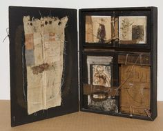 Hannelore Baron  Untitled Assemblage (B-78005), 1978  wood, fabric, monotypes on paper, cord, graphic & ink in a dovetailed box with hinged lid, 12 x 17 x 2 inches
