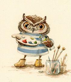 Questa disegnatrice russa è famosa per i suoi gufi teneri e divertenti disegnati ad acquarello, normalmente su carta, ma anche su tes...