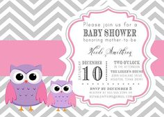 PRINTABLE Gray and Pink Chevron Baby Owls Baby Shower Invitation