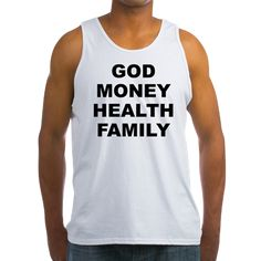 Men's light color white tank top with God Money Health Family theme. God Money Health Family is the main order the average person place their values and priorities in. Available in small, medium, large, x-large, 2x-large for only $19.99. Go to the link to purchase the product and to see other options – http://www.cafepress.com/stgmhf