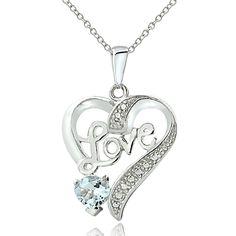 Glitzy Rocks Sterling Silver Aquamarine Diamond Accent 'love' Heart Necklace