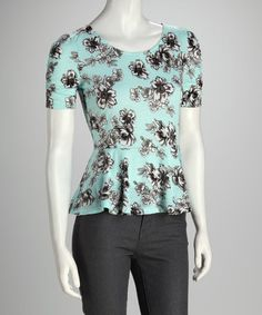 Take a look at this Sea Spray Floral Peplum Top by Love By Design on #zulily today!