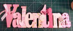 Nome em MDF, decorado em papel de scrap.   Pode ser utilizado para decorar quarto e festa infantil. R$ 100,00