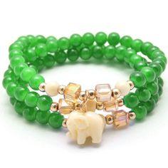Zenzii Radiant Elephant Bracelet - Dark Green