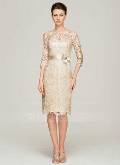 Etui-Linie U-Ausschnitt Knielang Charmeuse Spitze Kleid für die Brautmutter mit Perlen verziert Blumen (008062563) - JJsHouse