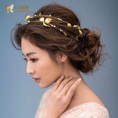 Oro magnífico plateó la hoja diadema de perlas de cristal de la joyería tiara de la corona ornamentos del pelo nupcial accesorios de la boda regalo lluozh