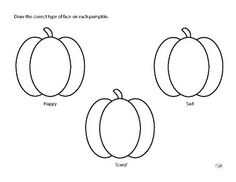 Draw the correct type of face on 3 pumpkins, either happy, sad, or scary! Jack O Lantern Faces, Science Worksheets, Teacher Newsletter, Lanterns, Teaching, Learning, Education, Lantern, Teaching Manners