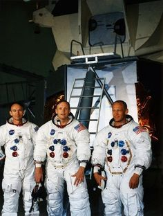 Apollo 11 astronauts Mike Collins, Neil Armstrong and Buzz Aldrin (Also an ExploreMars Advisory Board Member) at Kennedy Space Center less than a month prior to the July 1969 launch.  -- via Retro Space Images' Facebook page