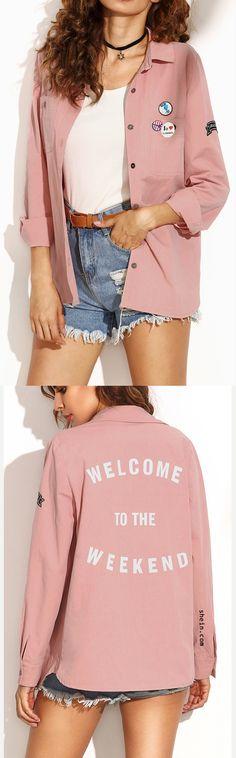 Pink letter print shirt jacket.