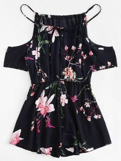 Shop Open Shoulder Floral Print Romper at ROMWE, discover more fashion styles online. Teenage Outfits, Cute Girl Outfits, Cute Summer Outfits, Cute Casual Outfits, Outfits For Teens, Dress Outfits, Dresses, Tween Rompers, Cute Rompers