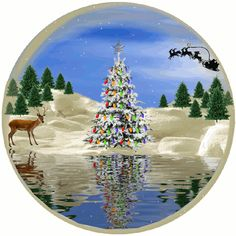 Animated Christmas Scene animated gif deer christmas christmas tree santa sleigh christmas pics