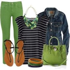 #spring #outfits / Green Jeans + Denim Jacket