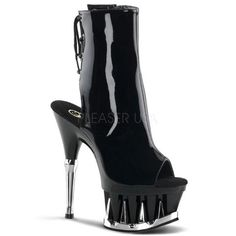 Pleaser Sexy Shoes 6 Inch Heel, 2 Inch Platforms Open Toe/Back Ankle Boots - Miss Hollywood - 1 Peep Toe Platform, Platform Boots, Silver Shark, Sexy Stiefel, Stripper Shoes, Shoes Heels Pumps, Flat Shoes, Women's Shoes, Bootie Sandals