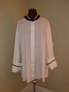 Milano Sz Big 20/ 34-35 White & Black Nehru Collar French Cuffs Dress Shirt #Milano