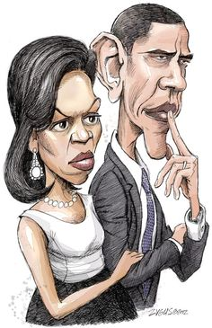 This is an example of a political caricature of Michelle and Barack Obama. The exaggeration on their faces is element of caricature art. (Artist: Adam Zyglis) http://www.politicalcartoons.com/cartoon/969e2cad-a80c-4b65-81f5-971f37571235.html
