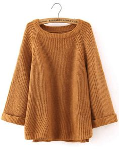 Long knit sweater with oversized look. Made with a blend of cotton & polyester. Onesize fits most, measures: Bust 45 inches, Length 23 inches. Ships from New York. Loose Sweater, Ribbed Sweater, Pullover Sweaters, Brown Sweater, Knit Sweaters, Ribbed Top, Sweater Shirt, Brown Long Sleeve Shirt, Long Sleeve Sweater