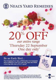 24 hour Sale at uk.nyrorganic.com/shop/sarah_hannant 20% Off!!