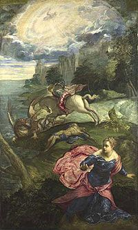 Saint George and the Dragon by Jacopo Tintoretto ~ ca.1560 ~ This representation of the popular saint is unusual, in that the hero doesn't dominate the pictorial action. Instead, the princess he has saved runs out towards us, her pink cloak giving the scene a sense of vibrant energy from the start.