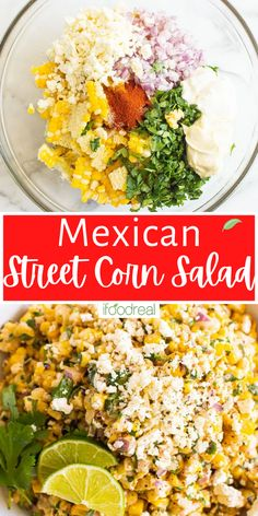 Enjoy this healthy version of Mexican Street Corn Salad (aka Elote corn salad), where flavorful corn is tossed with a light yogurt-mayo lime and cilantro dressing and sprinkled with feta cheese. It is an easy summer salad and perfect for a potluck! Healthy Potluck, Healthy Family Meals, Potluck Recipes, Easter Recipes, Healthy Salads, Side Dish Recipes, Healthy Eats, Healthy Mexican Recipes, Healthy Breakfast Recipes