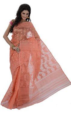 Peach color handloom muslin jamdani dhakai saree
