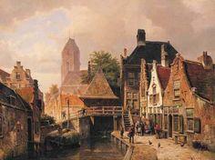 Gezicht op Oudewater van Willem Koekkoek (1839 - 1895). Het schilderij hangt in de National Gallery in Londen.