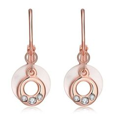 LEKANI+INALIS+18K+Rose+Gold+Plated+Fashion+Roundness+Resin+Czech+Drill+Ear+Stud+Earrings