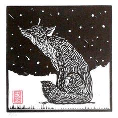 lino print by Red Boy Prints 2015 © Lino Art, Woodcut Art, Linocut Prints, Engraving Printing, Wood Engraving, Art And Illustration, Animal Quilts, Fox Art, Christmas Scenes