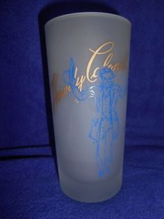 """Vintage Howdy Colonel """"A Toast"""" Frosted Blue & Gold Kentucky Derby Glass #Libby"""