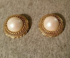 VTG LARGE CLIP EARRINGS GOLD TONE AND FAUX PEARL MADE IN AUSTRIA